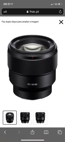 Objetiva Sony FE 85mm f1.8 como nova