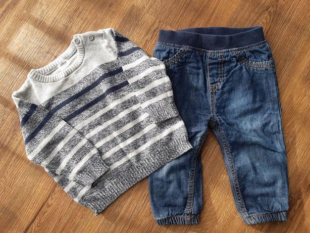 jeansy na podszewce sweterek F&F rozmiar 68 74