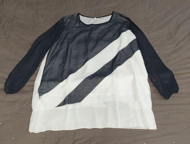 Blusa/túnica preta e branco manga 3/4 tamanho 2XL