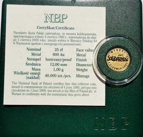 Złota Wybory 4 Czerwca 1989 25 zł Solidarność 2009 Moneta