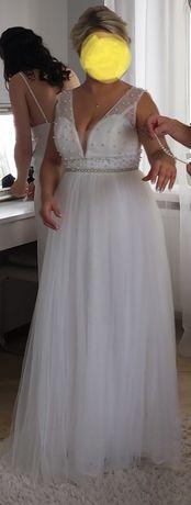 Suknia ślubna rozm 38, biała, brokat, perełki