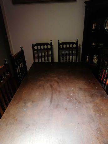 Mesa de pinho 1.77x96 com 7 cadeiras