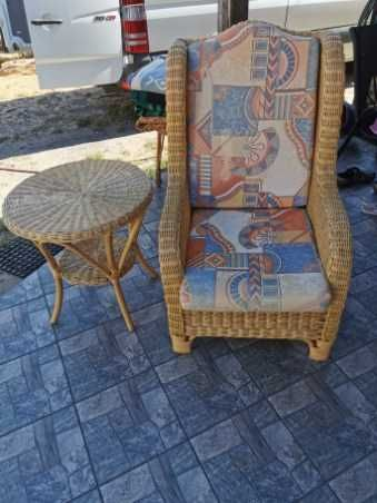 Komplet ratanowy fotel i stolik
