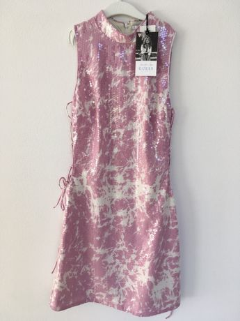 Sukienka guess S nowa z metką cekiny różowa mini sexi