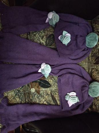Шапочка с шарфом для девочки 3-5 лет