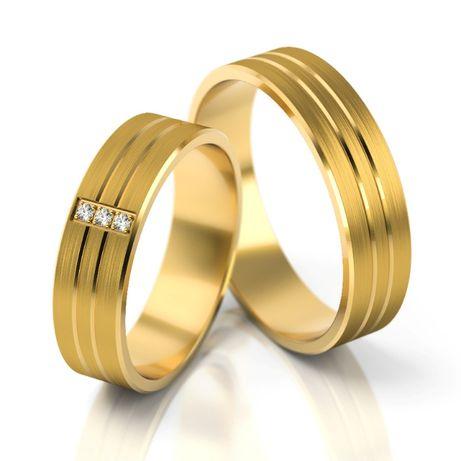 Złote obrączki próba 585 (wzór S206) - para