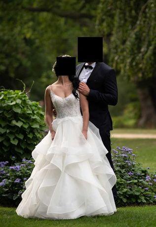 Suknia Ślubna z salonu Atelier Rosa, falbany rozmiar 36-38