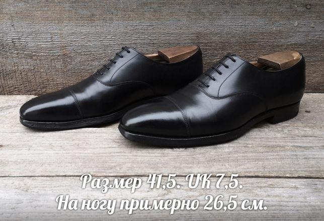 Crockett&Jones р41,5 Англия Кожаные оксфорды Черные мужские туфли кожа