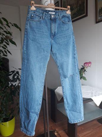 Spodnie jeansowe niebieskie Zara Trafaluc S wyższy stan