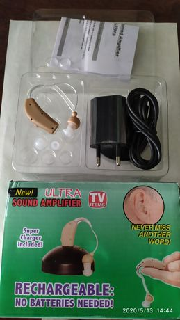 Слуховой аппарат с аккумулятором новый