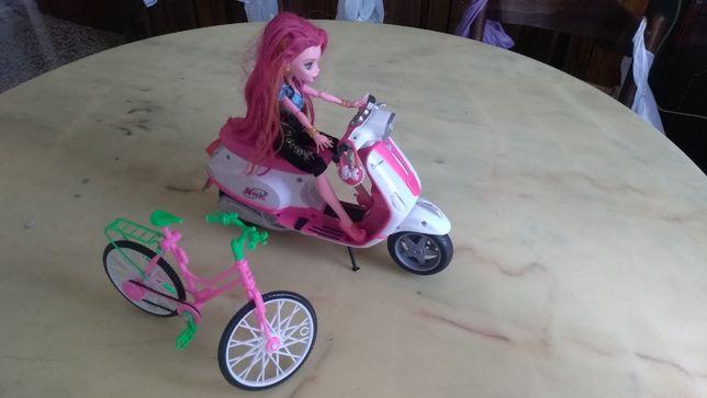 игрушки для девочки скутор с куклой и велосипед