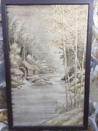 Quadro chinês em seda bordada do séc XIX 126/81 cm