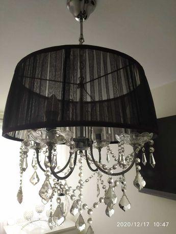 Czarna krysztalowa lampa wisząca