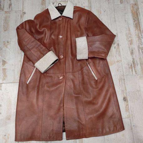 Стильная  женская  кожанная куртка батал