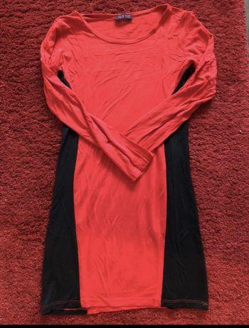Czerwono czarna sukienka, tunika