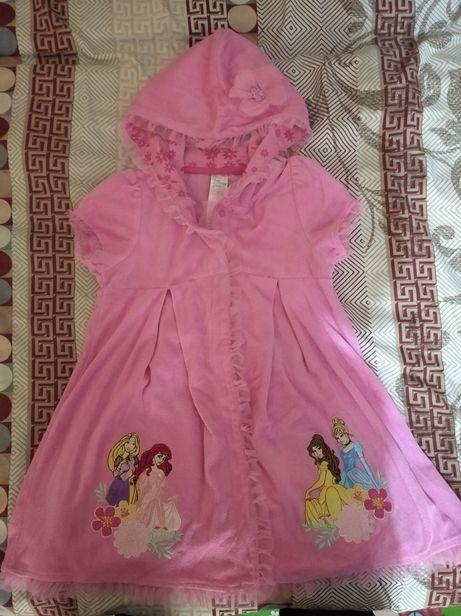 Натуральный махровый халат Дисней принцессы на девочку 7-8 лет.