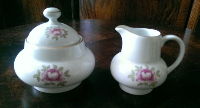 Cukiernica i mlecznik porcelana Wawel dawniej Krister róża