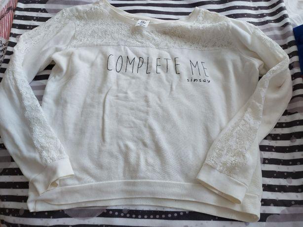 Bluza z koronką r 40/42 (L/XL) Sinsay Bawełna Biała Koronka
