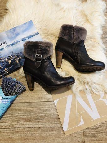 Сапоги ботинки зимние на каблуке натуральная кожа