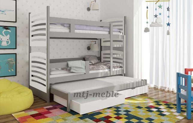 Piętrowe łóżko dla 3 dzieci Olek z materacami za darmo! Tania dostawa