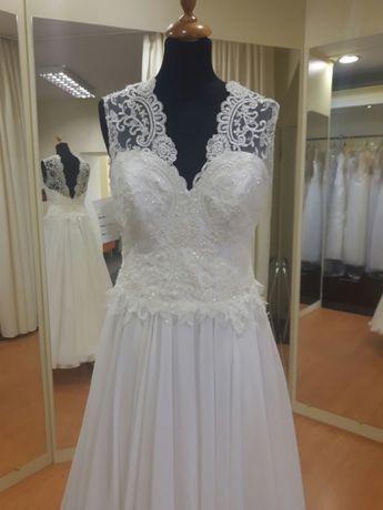 Suknia ślubna muślinowa śmietankowy ecru 38 40 42 WYPRZEDAŻ LUBLIN