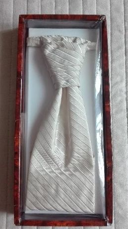 Krawat i Butonierka Ślubna Ecru