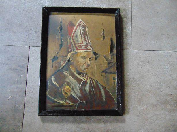 Obraz,olej na tekturze,ludowy,Jan Paweł II Kraków,vintage z lat 70