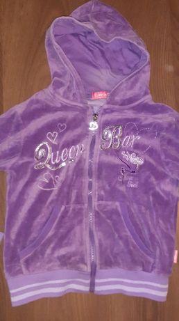 Bluza welur dla dziewczynki fioletowa