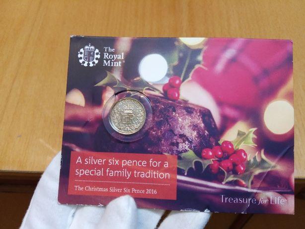 Юбилейные редкие 6 пенсов 2016 Англия Food for pleasure Christmas Eve