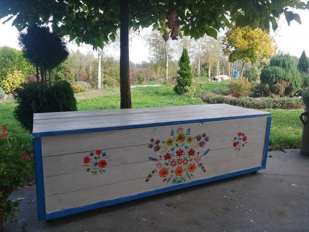 Skrzynia ogrodowa kufer wzór łowicki obraz na drewnie