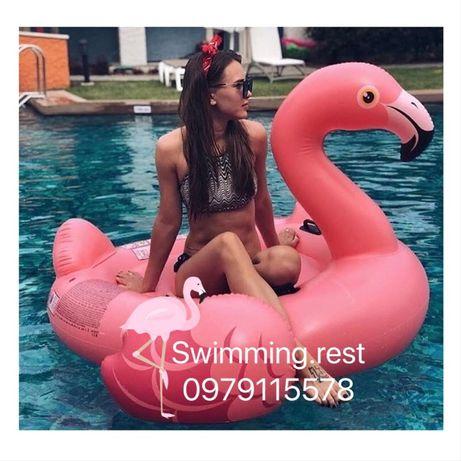 Надувной плот матрас Intex Мега-остров Розовый Фламинго
