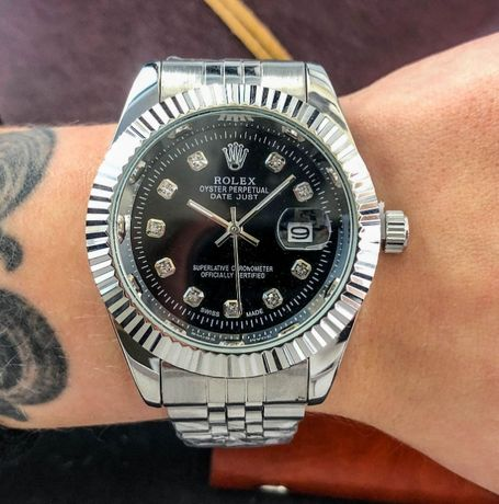 Часы Rolex Date Just Silver-Black . Лучшая классика от Ролекс!