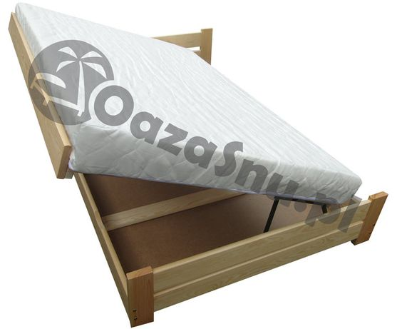 łóżko sosnowe z pojemnikiem podnoszone z boku FLORENCJA 160x210