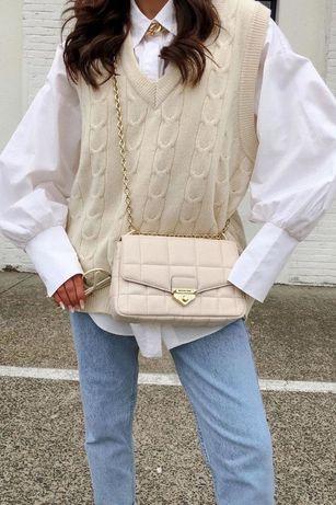Kamizelka bezrękawnik sweterkowy z wiązaniem beżowy M L