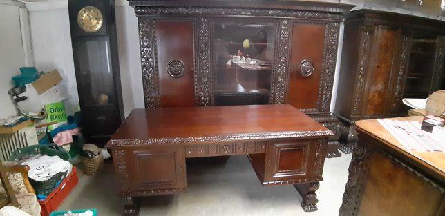 Antyczna biblioteka  z biurkiem  na lwich łapach Gabinet