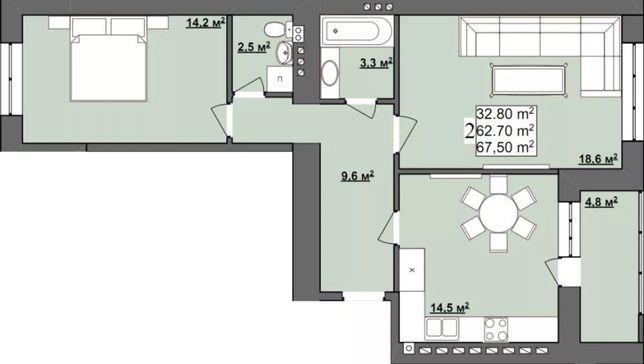 24 000 $ На Каскаді 2-кімнатна квартира на розтермінування.