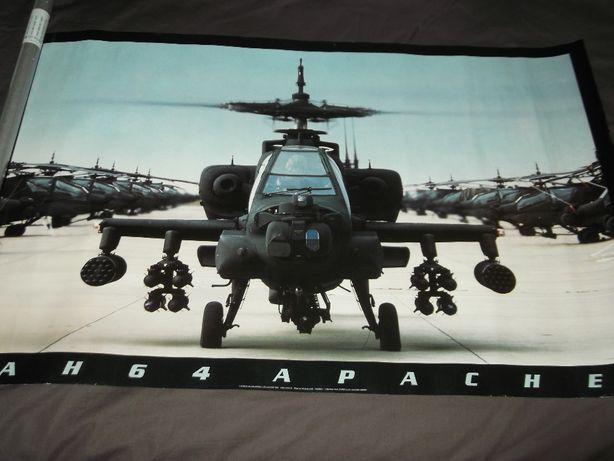 Poster original e vintage do AH 64 Apache de 1990, nunca usado!!