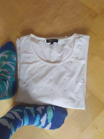 Bluzka Vento biała w kółka M L damska