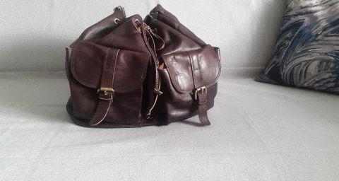 Skórzana torba plecak brązowy