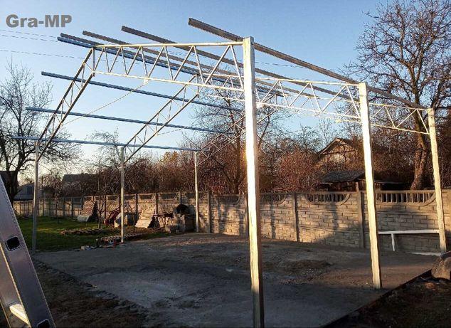 KONSTRUKCJA 8 x 6,5m do 50m2 Garaż Wiata Ocynkowana Magazyn Namiot Hal