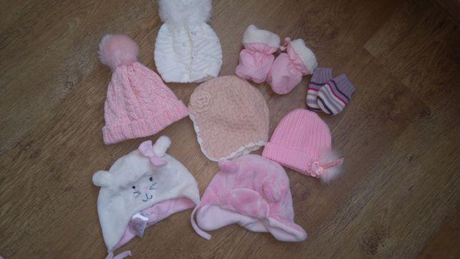 Zimowe czapeczki i rękawiczki dla dziewczynki 0-6M