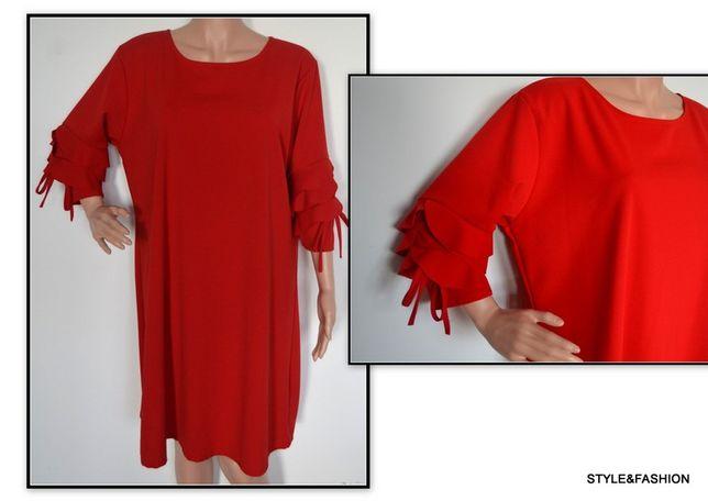 Nowa sukienka litera A falbanki przy rękawach rozmiar 50
