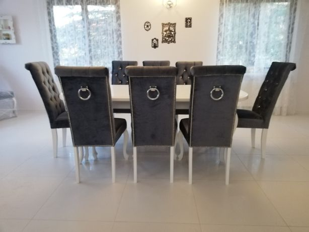 Krzesło z kołatką tkanina Velevet kryształki cyrkonie