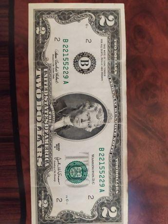 Купюра 2 доллара 2003 год серия А