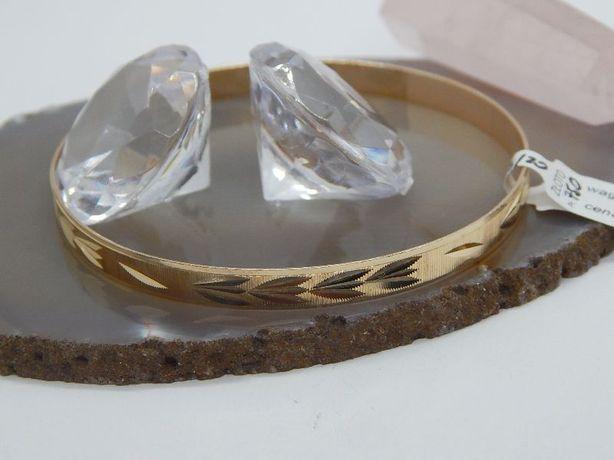 złota bransoletka koło obręcz pr 750 (18) waga 12,4 g średnica 7 cm