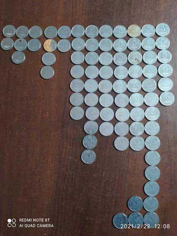 Продам монеты 1к, 2к, 5к, 10к 25к 50к, копеек Украина 1992г. И др.