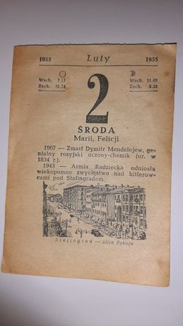 Kartka z kalendarza 1955, kalendarz 1955