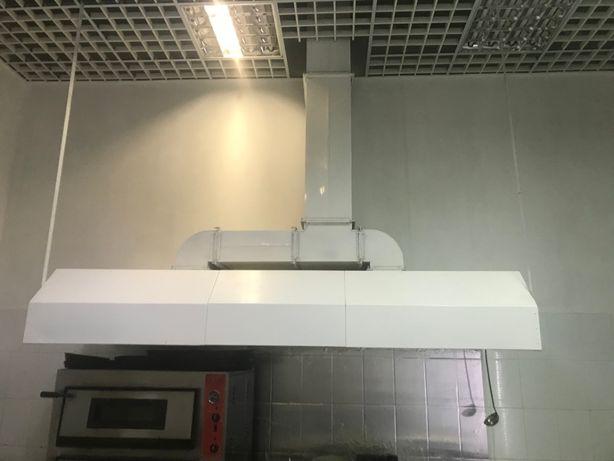 Зонт вытяжной (пристенный) для кухни в кафе