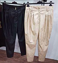 Czarne beżowe spodnie wysoki stan s m
