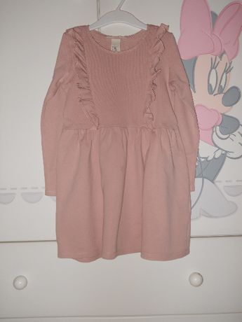 Ciepła sukienka z falbanami H&M, 110/116, jak nowa